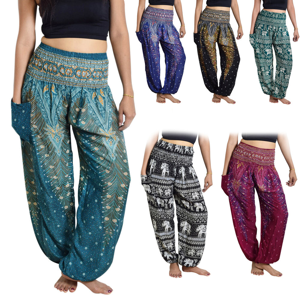 Massive selection of Bohemian Harem Pants hand crafted in Northern Thailand. Paisley, Elephant, Mandala, Tribal, Peacock prints available. Got Yoga leggings too.