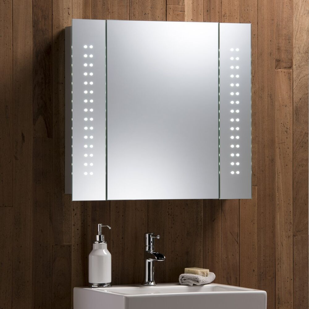 Led bathroom mirror cabinet with lights demister shaver for 2 mirrors in bathroom