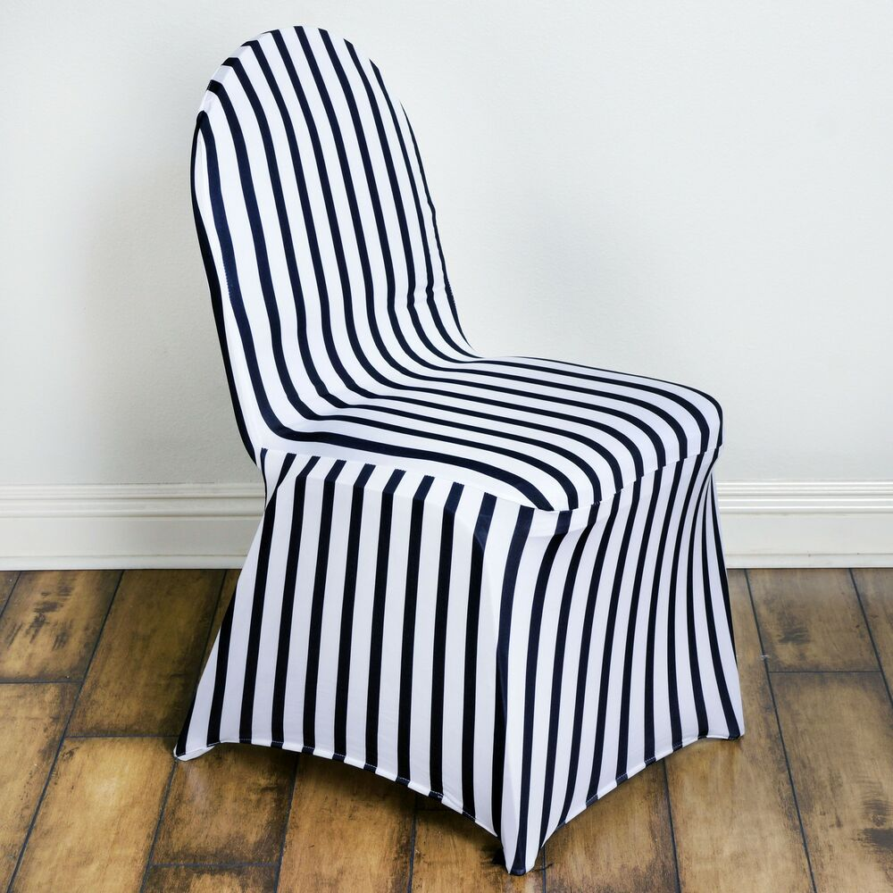 Black And White Striped Spandex Stretchable Chair Covers