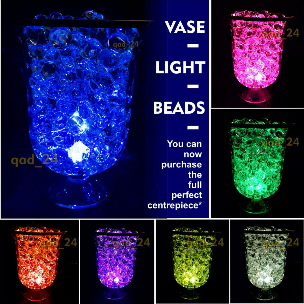 Led wedding table lights ebay beads led light vase wedding table top decoration centrepiece aqua crystal reviewsmspy
