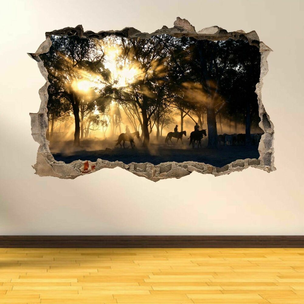Western cowboys sun rays forest wall art stickers mural home office decor ae18 ebay