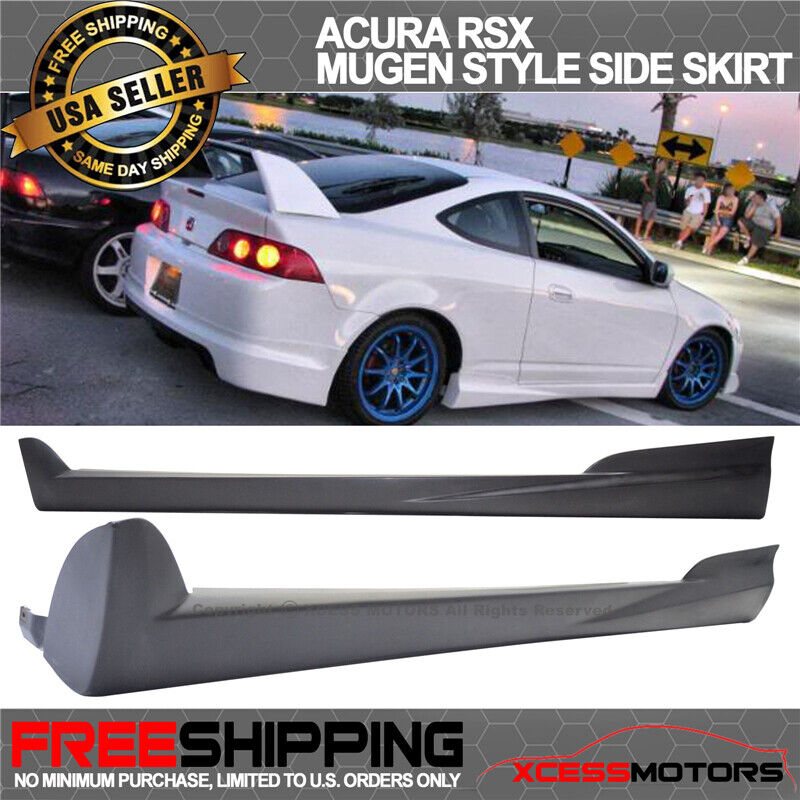 Fit 02-06 Acura RSX Mugen Style Unpainted Black Side Skirt