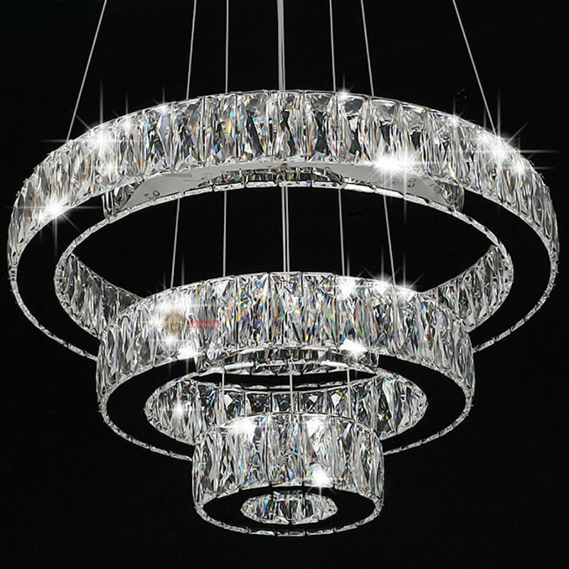 Modern crystal round ring led pendant lamp ceiling lights for How to make a modern chandelier