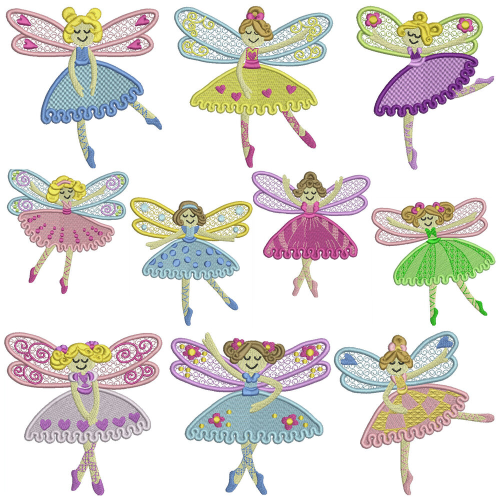 Dance fairy machine embroidery patterns designs