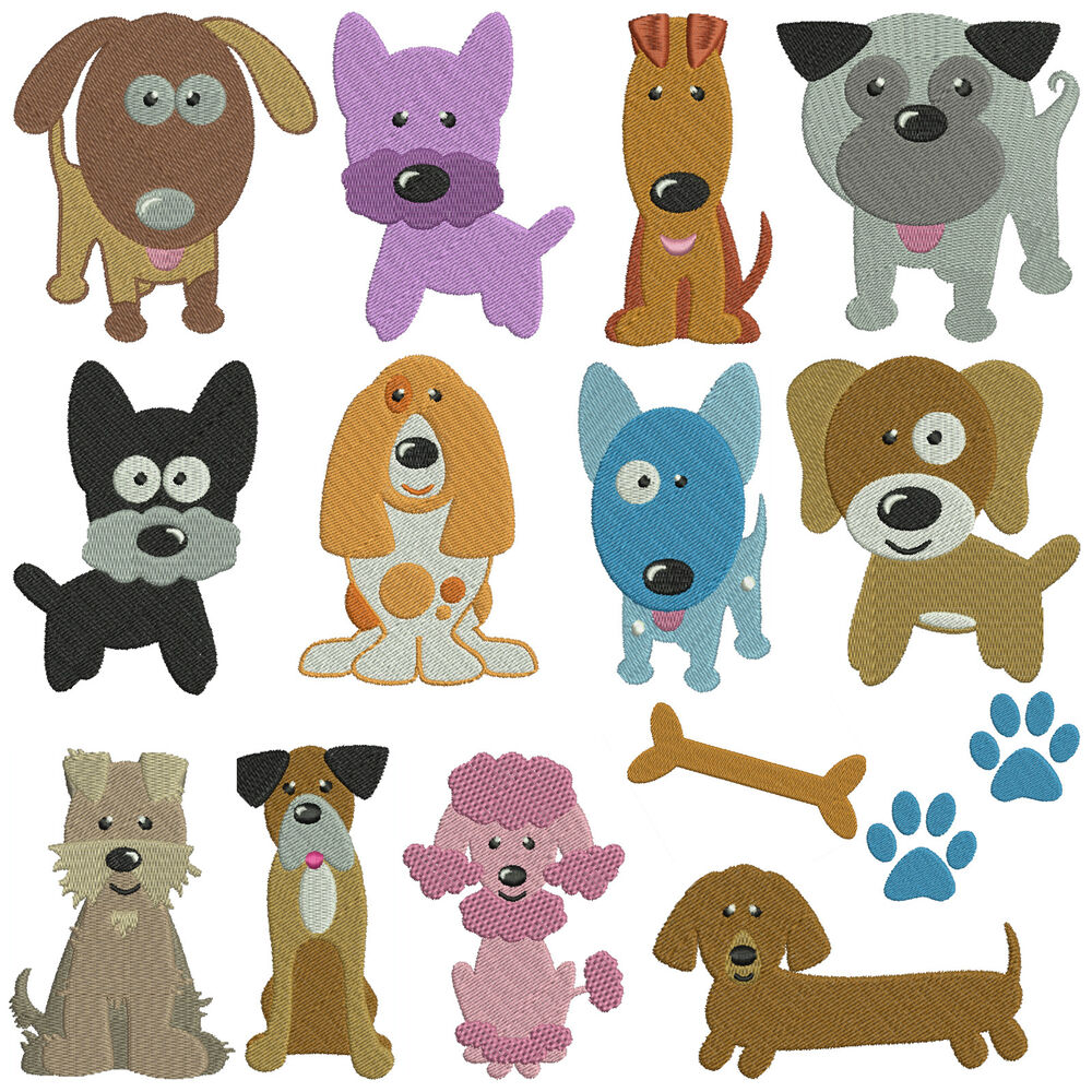 DOGS 1 * Machine Embroidery Patterns * 14 designs x 2 ...