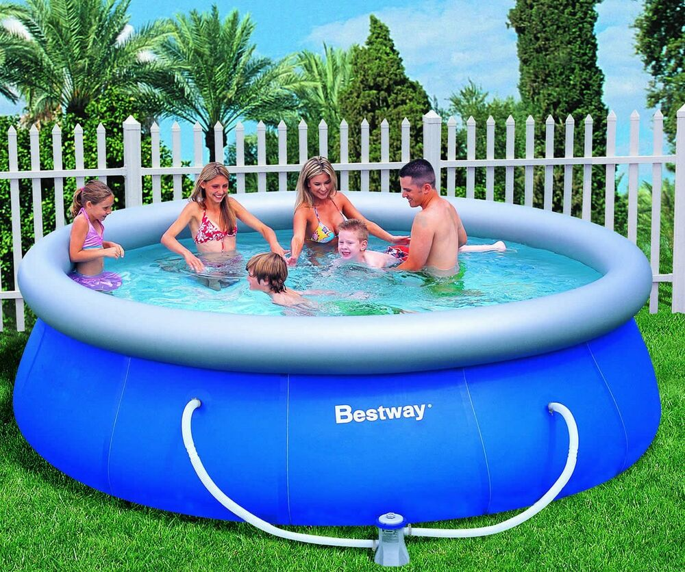 Large inflatable swimming pool with pump bestway above ground family pool ebay for Large above ground swimming pools