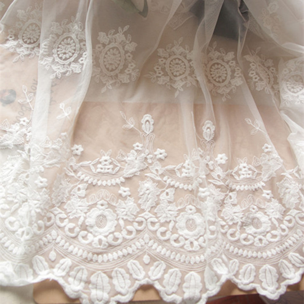 White lace fabric floral embroidered mesh soft diy dress curtains quot yard ebay
