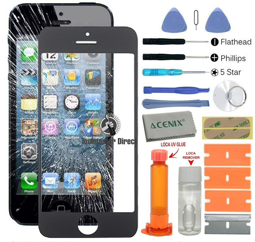 iphone 5s 5c 5 front glass screen replacement repair kit. Black Bedroom Furniture Sets. Home Design Ideas