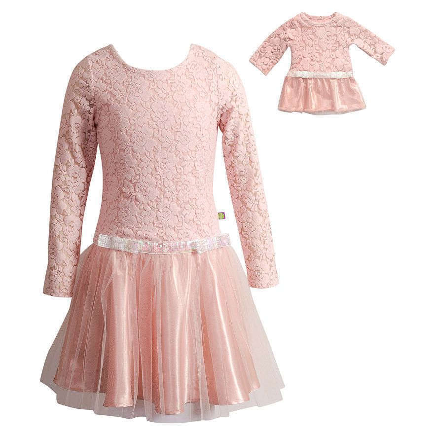 Dollie Me Girl 4 14 And Doll Matching Pink Lace Mesh Dress
