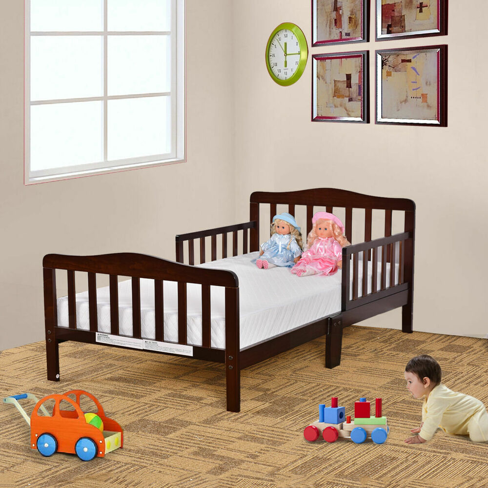 Baby Toddler Bed Kids Children Wood Bedroom Furniture W Safety Rails Espresso Ebay