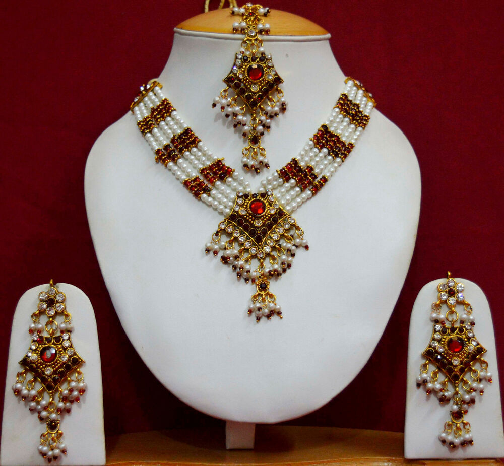Indian Gold Jewellery From Websites For: Indian Bridal Wedding Pearl Rani Haar Choker Necklace Sets