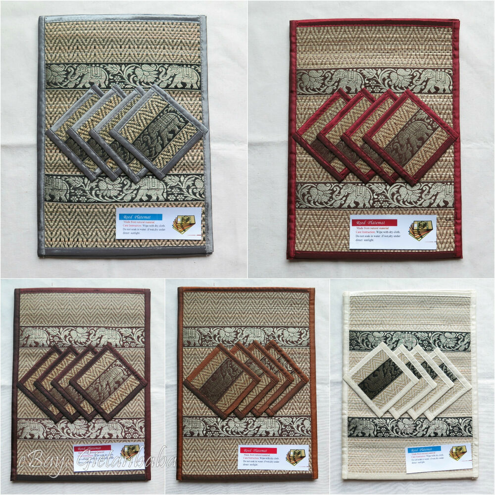 4 Thai Elephant Silk And Reed Dining Table Mats Amp Drinks