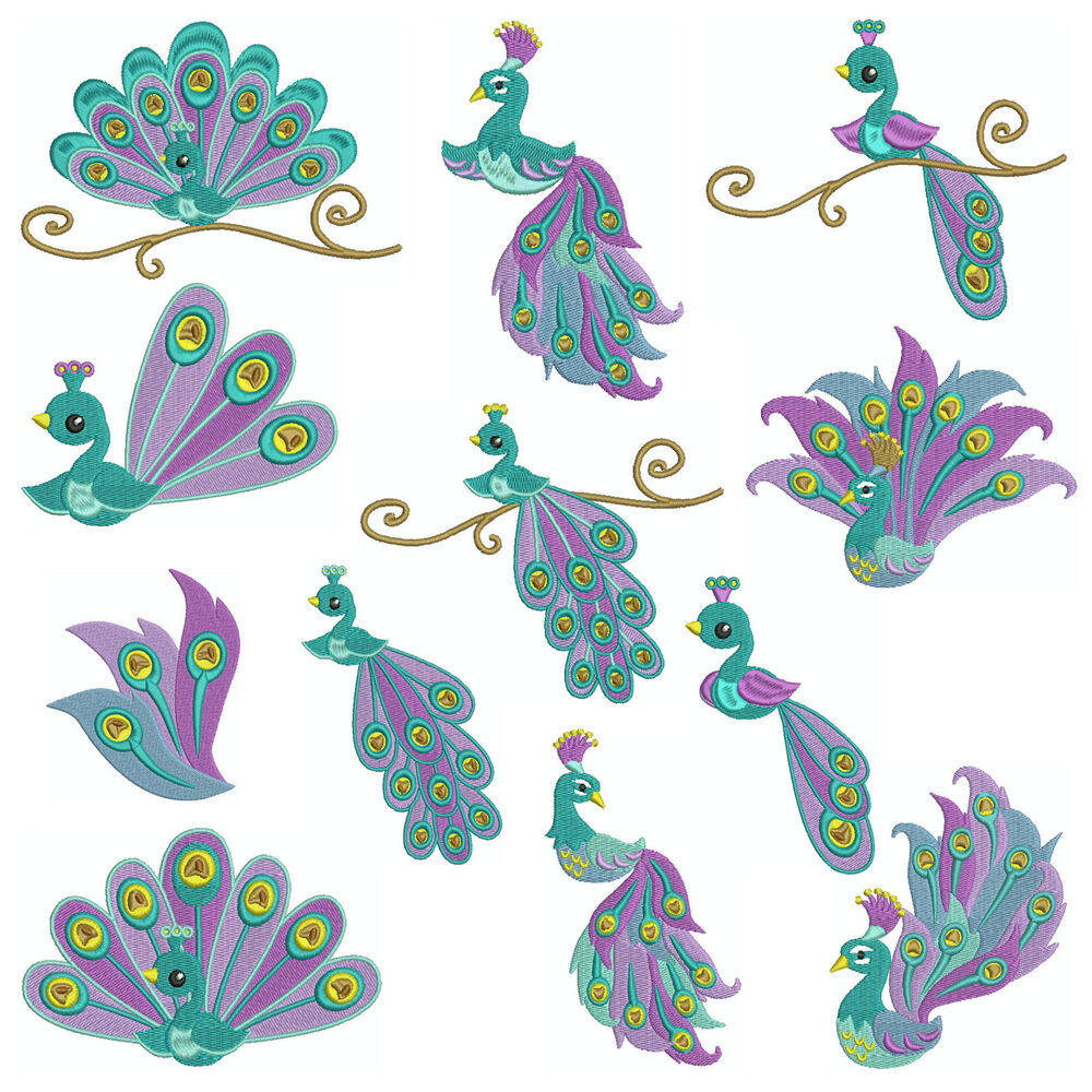 * PEACOCK 1 * Machine Embroidery Patterns * 12 Designs X 3 Sizes | EBay