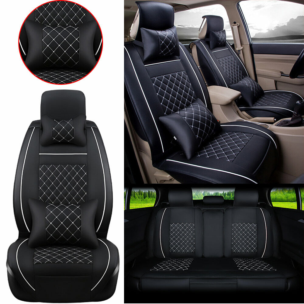 auto car seat cover front rear pu leather 5 seats w neck lumbar pillow size m ebay. Black Bedroom Furniture Sets. Home Design Ideas