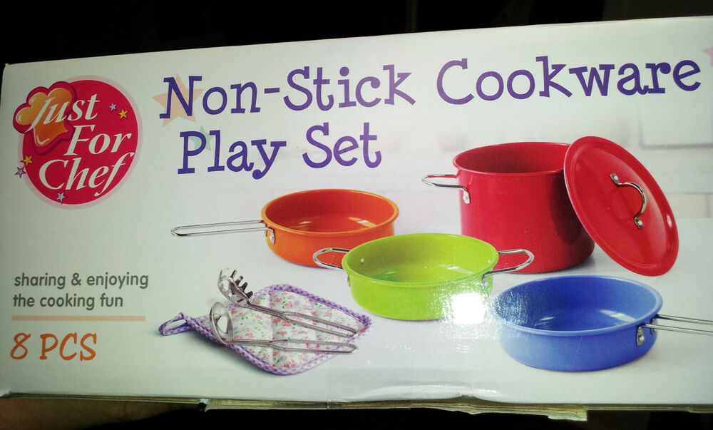 Metal Pots And Pans Kitchen Cookware Playset For Kids With