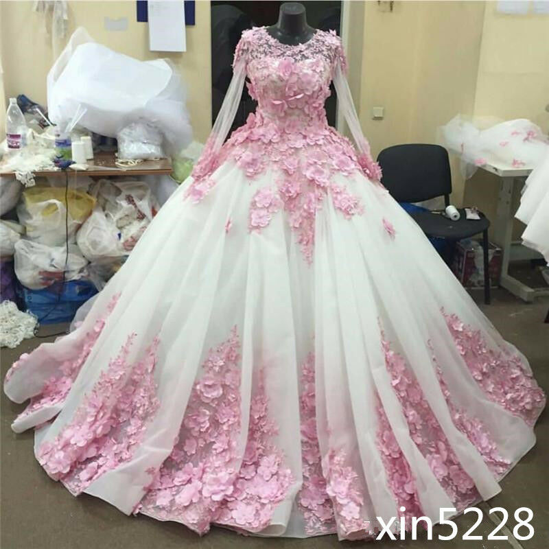 Princess wedding dress gown pink flower chaple train for Wedding dress made of flowers