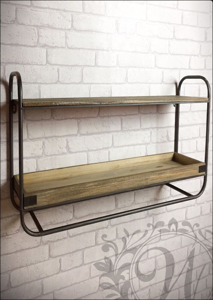 retro vintage industrial style metal shelf storage cabinet cupboard wood unit ebay. Black Bedroom Furniture Sets. Home Design Ideas