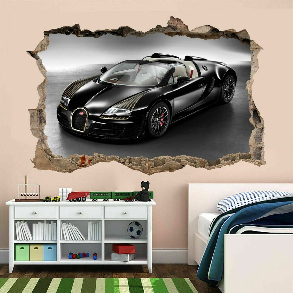 bugatti car wall art stickers mural kids bedroom home office nursery decor am3 ebay. Black Bedroom Furniture Sets. Home Design Ideas