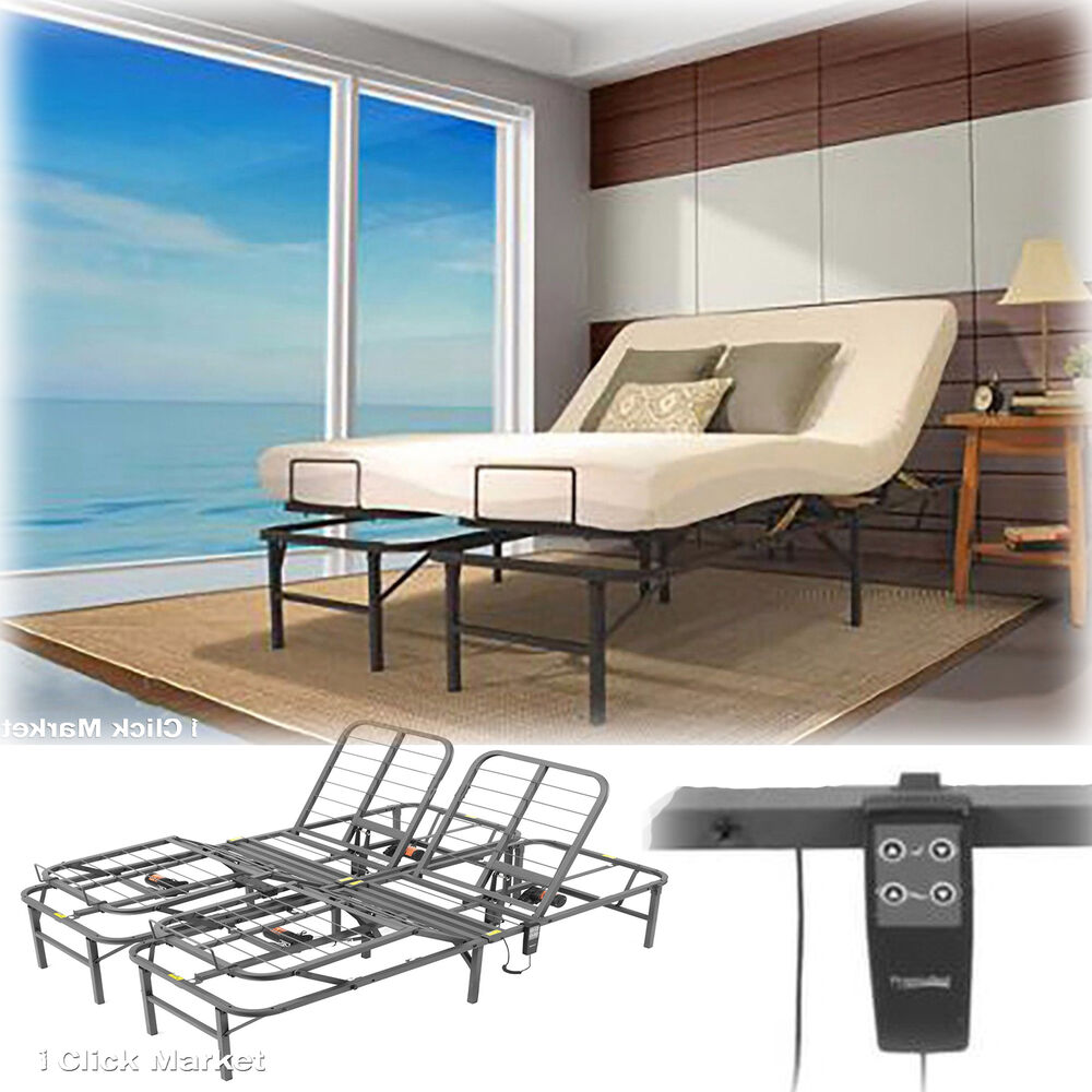 cal king size adjustable electric lift bed frame head foot contol foundation ebay. Black Bedroom Furniture Sets. Home Design Ideas