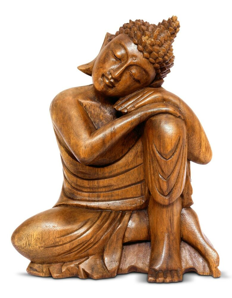 Quot wooden serene sleeping buddha statue hand carved