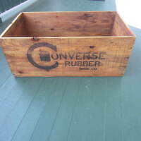 1910 Era Antique converse Shoe Company Rubber Basketball Wood Crate Vintage Old