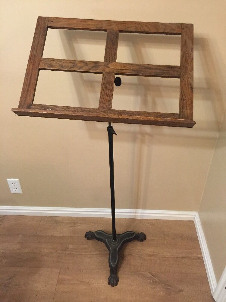 antique music sheet stand cast iron claw feet base wood book holder adjustable ebay. Black Bedroom Furniture Sets. Home Design Ideas