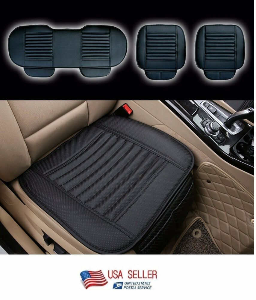 new car seat cushion 4 seasons pu leather bamboo charcoal cover pad mat 3pc ebay. Black Bedroom Furniture Sets. Home Design Ideas