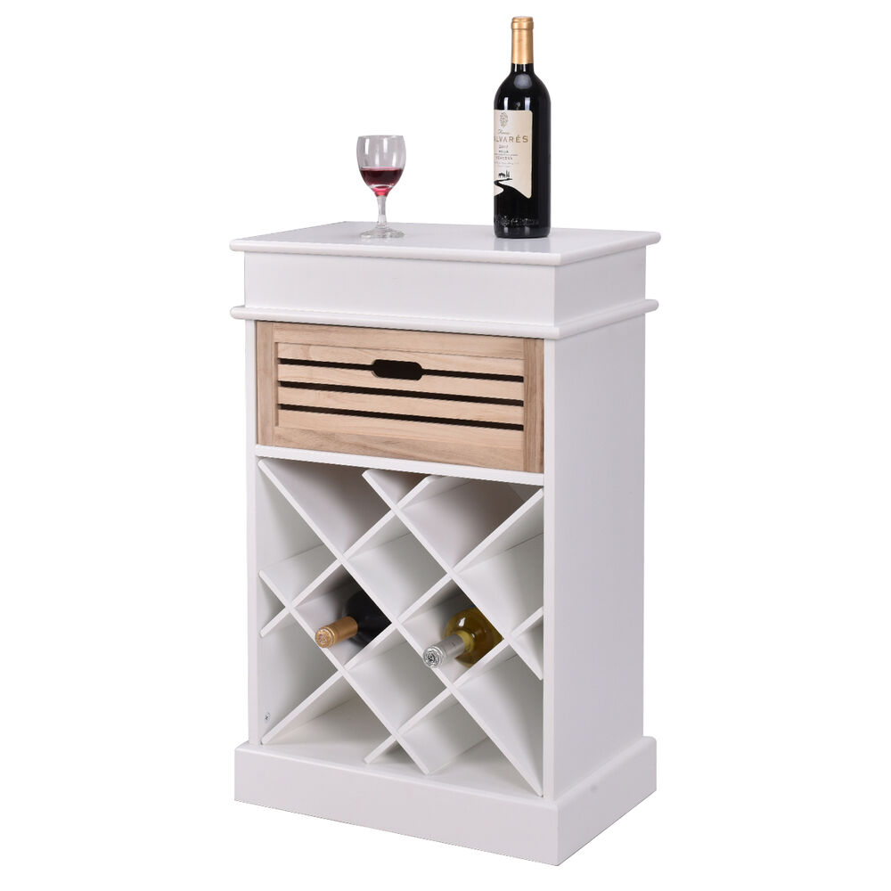 White Kitchen Shelf: 12 Bottles Wine Rack Cabinet Storage Display Shelves Wood