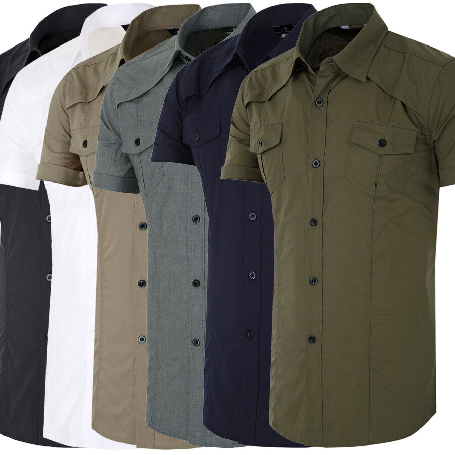 Stylish mens military shirts short sleeve button down tops for Mens black short sleeve dress shirt
