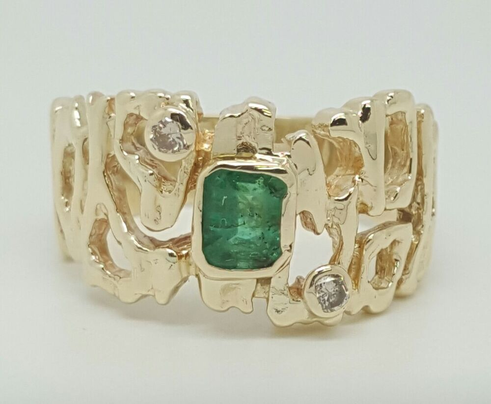 Vintage 1 01Ct natural diamond & green emerald 14k yellow gold men s