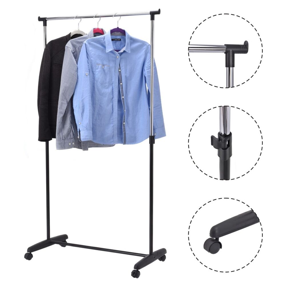 adjustable rolling garment rack portable clothes hanger heavy duty rail rack new ebay. Black Bedroom Furniture Sets. Home Design Ideas