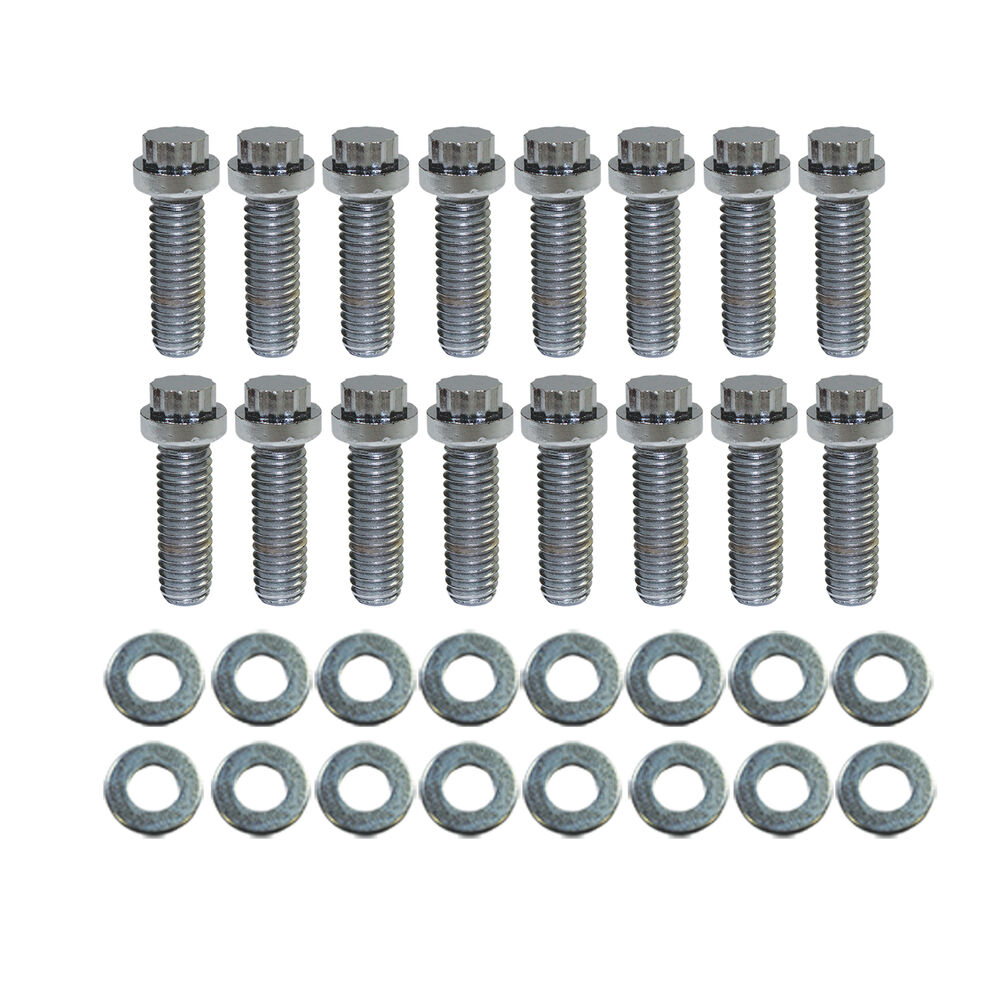 "BB Chevy Chrome 12pt Intake Manifold Bolt 16pc Kit 3/8""-16"