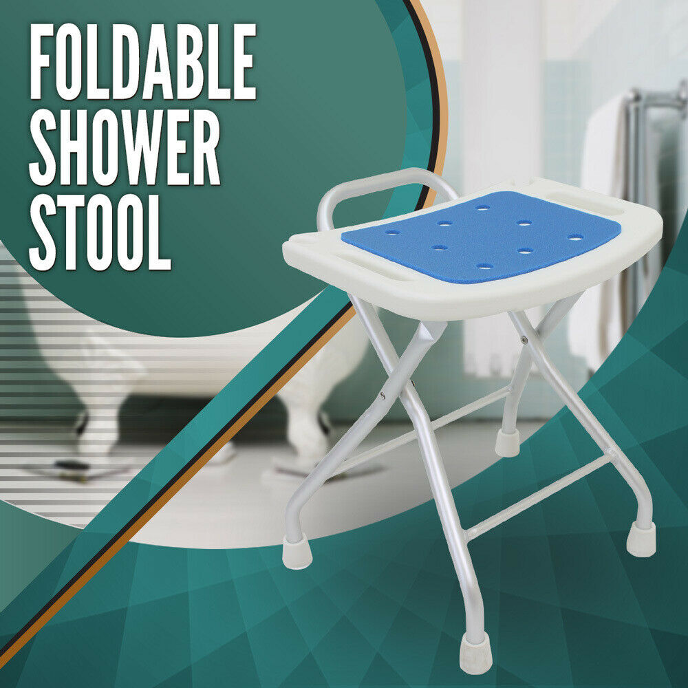 Foldable Aluminium Shower Seat Chair Stool Bench Soft Pad Folding | eBay