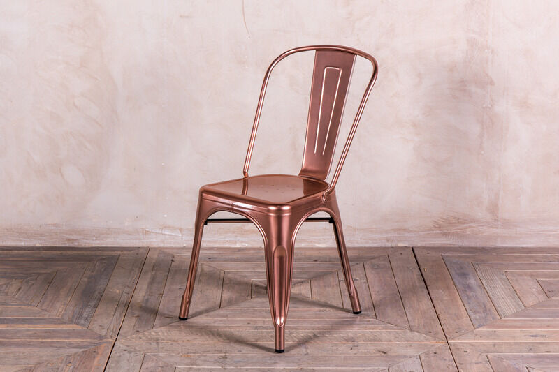 Bright Copper Tolix Style Metal Dining Chairs Metallic