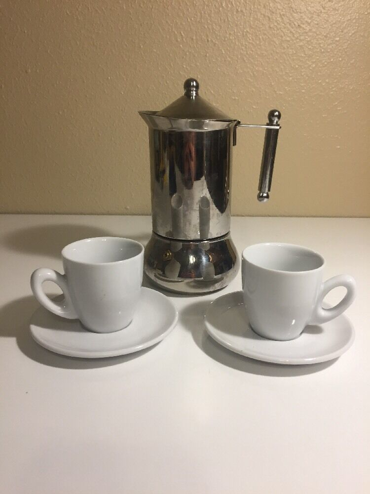 2 cup stovetop espresso maker inox 18 10 made in italy ships fast ebay. Black Bedroom Furniture Sets. Home Design Ideas