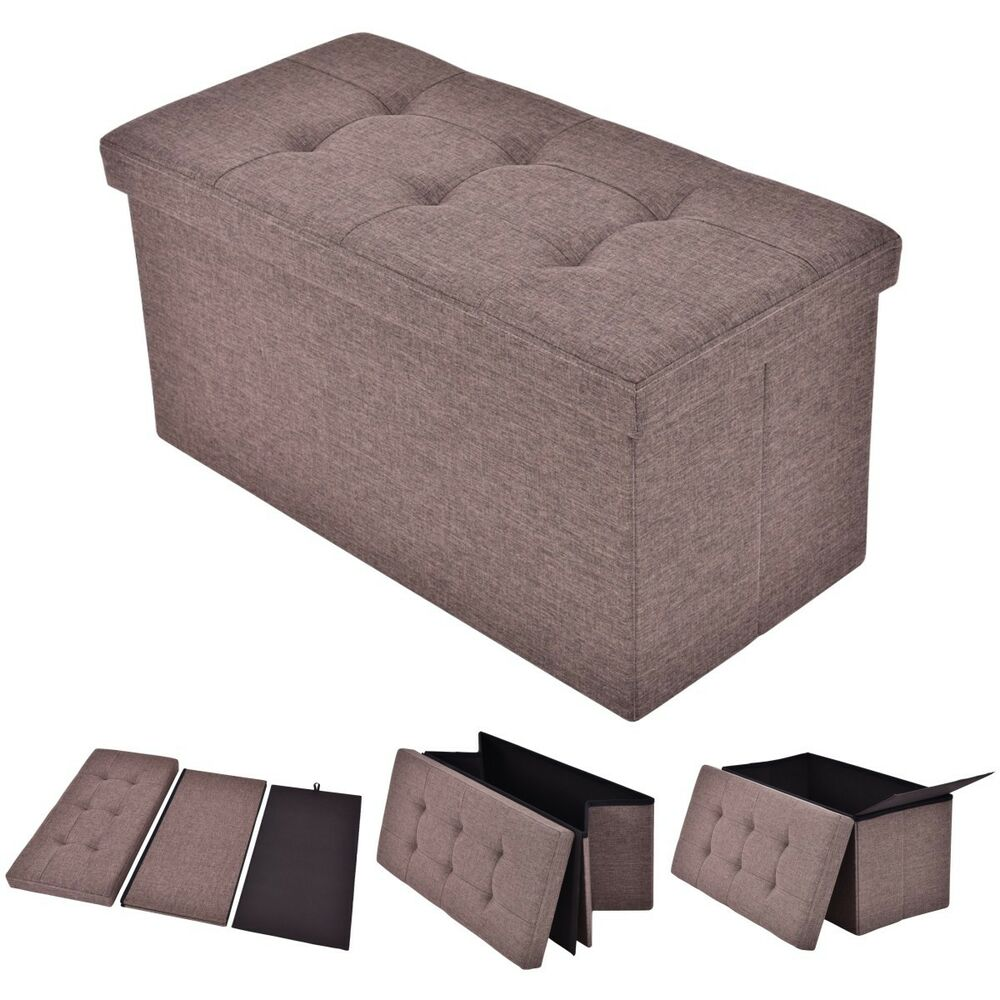 Folding rect ottoman bench storage stool box footrest furniture decor brown new ebay - Decorative stools and benches ...