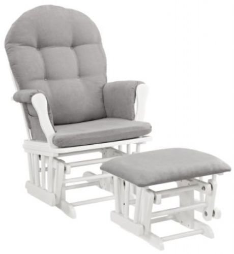 ... Furniture Nursery Chair Baby Rocking Set White with Gray Cushion