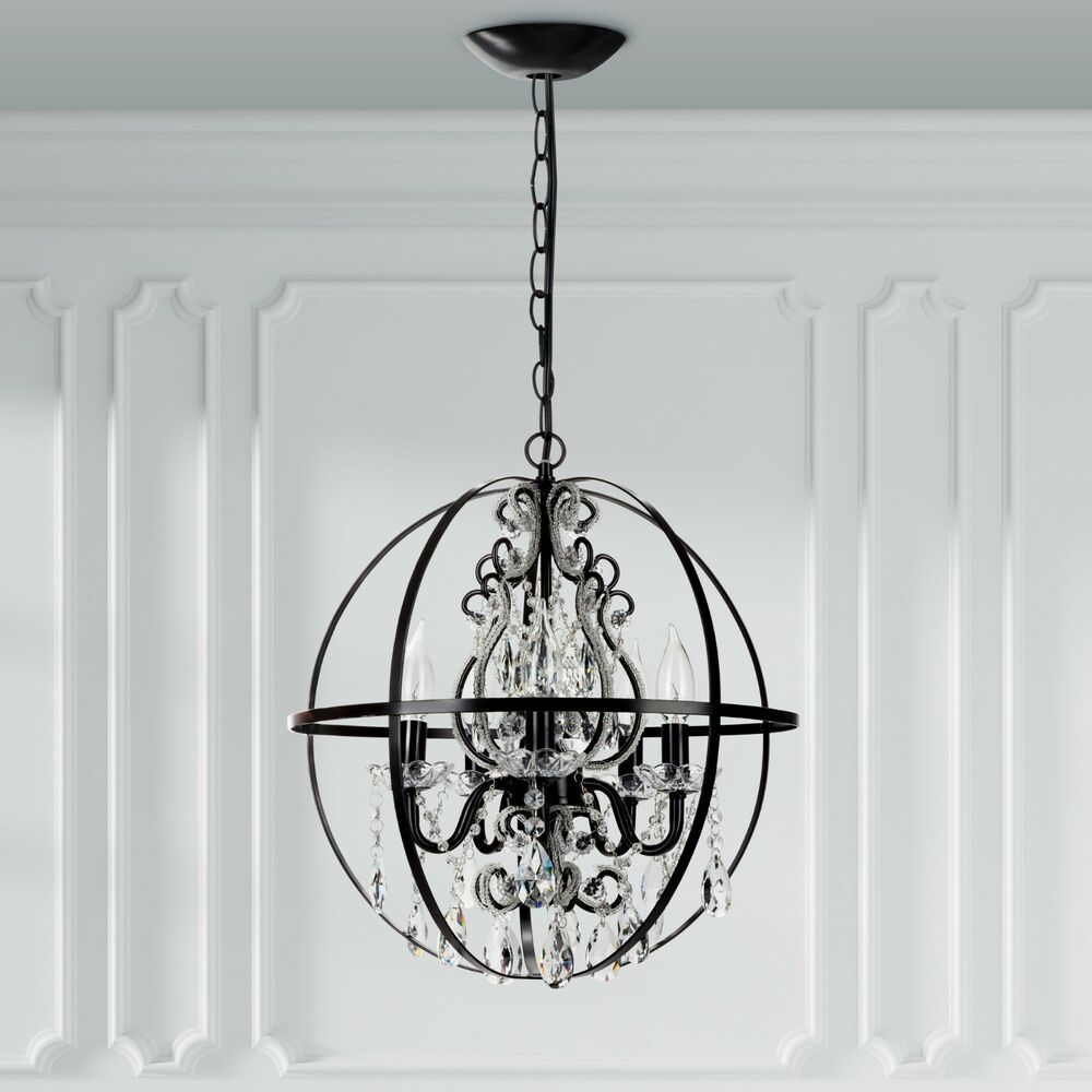 Crystal Beaded Globe Chandelier Black Round Orb Cage Swag