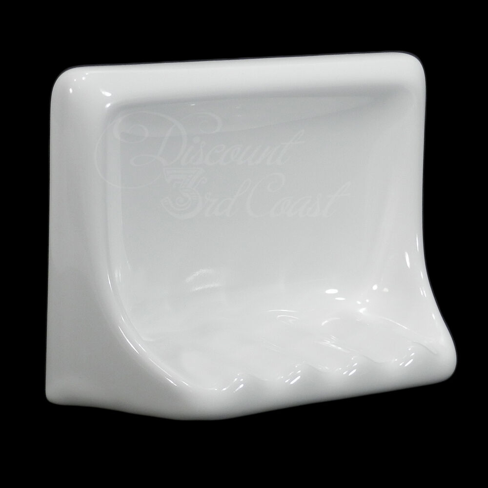Gloss white porcelain soap dish for tub shower tile in 6 5 x 5 x 2 5 new ebay for Wall mounted soap dishes for bathrooms