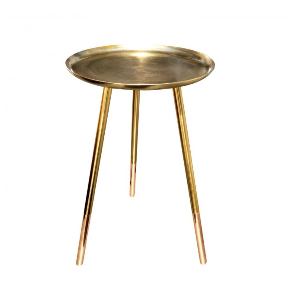 Small round bedside table - Bombay Duck Brass Copper Round Side Table Gold Metallic Small Wine Table