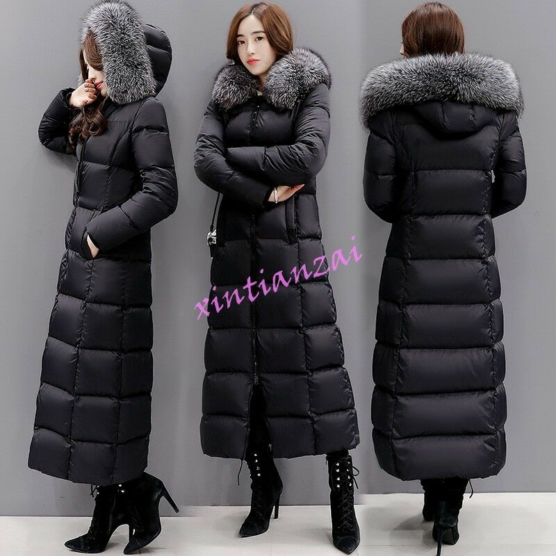 Women Full Length Down Coat Fur Collar Hooded Puffer ...