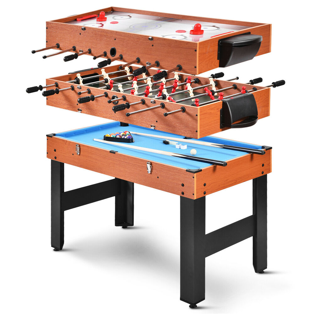 48 3 in 1 multi combo game table foosball soccer billiards pool hockey for kids ebay. Black Bedroom Furniture Sets. Home Design Ideas