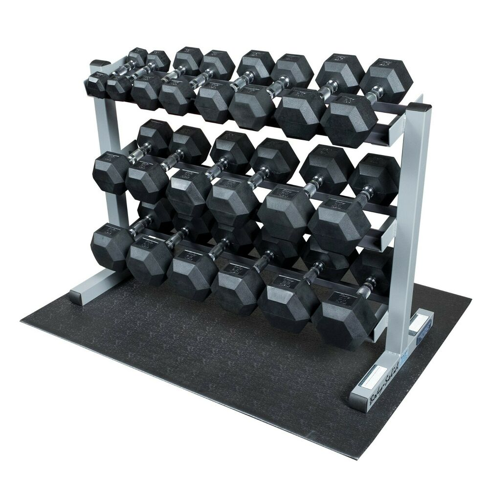 Dumbbell Set Up To 50: Body-Solid Rack With 5-50lb. Rubber Dumbbells, Floor Mat