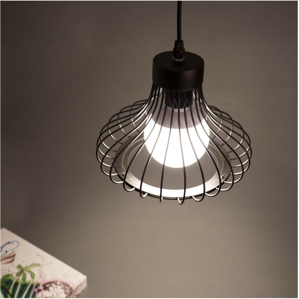 Ceiling Cable Lighting : Black pendant light lamp chandelier wire cage hanging