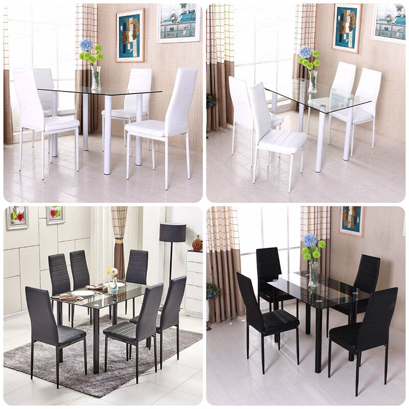 Diningroom Set Glass Dining Table Chairs With Metal Legs Foam Padded Seat EBay