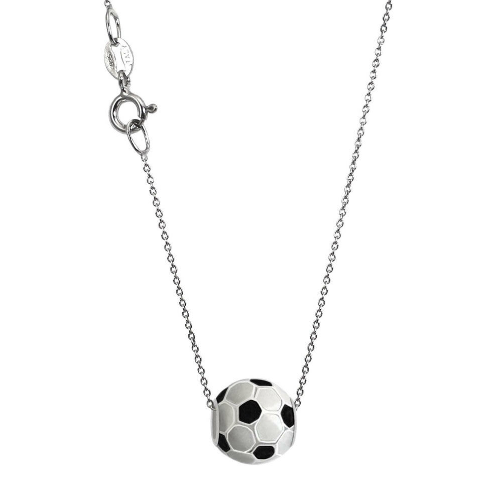 9321c9058 Details about Silver Chain with 925 Sterling Silver Soccer Ball Bead Charm  Necklace N1071