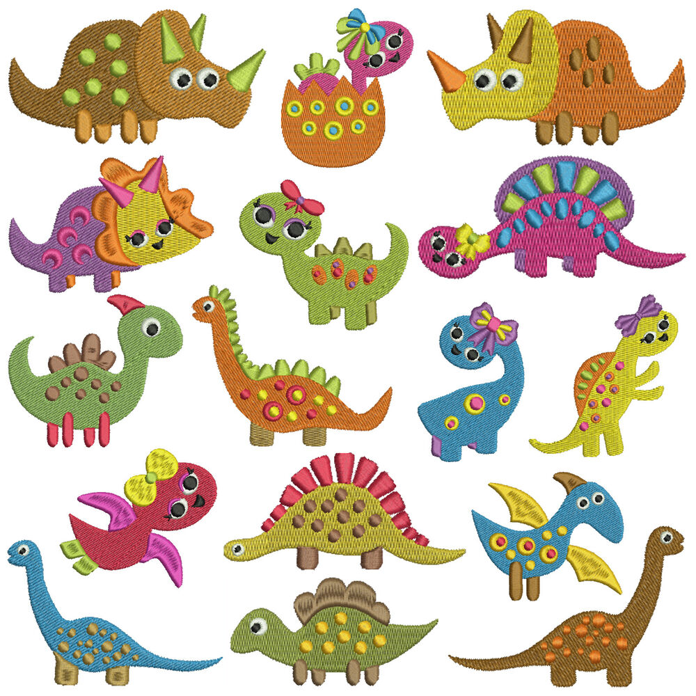 Tiny dinosaurs machine embroidery patterns designs