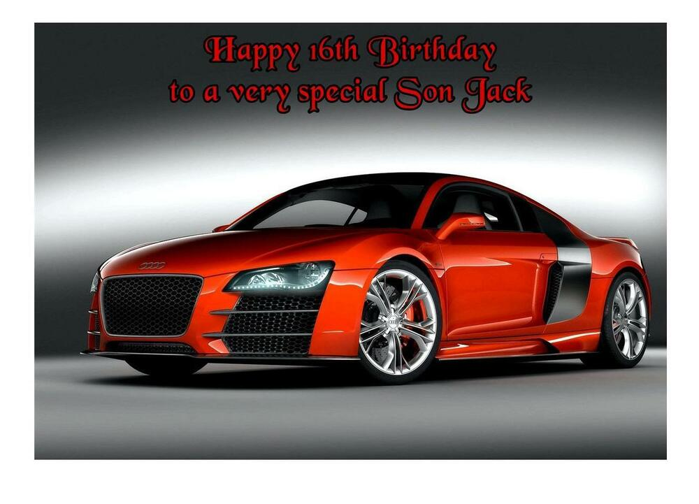 audi r8 car a5 birthday card personalised any relation age. Black Bedroom Furniture Sets. Home Design Ideas