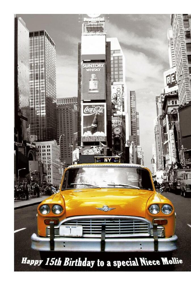 New York Yellow Taxi A5 Birthday Card Personalised Wife Mum – New York Birthday Card