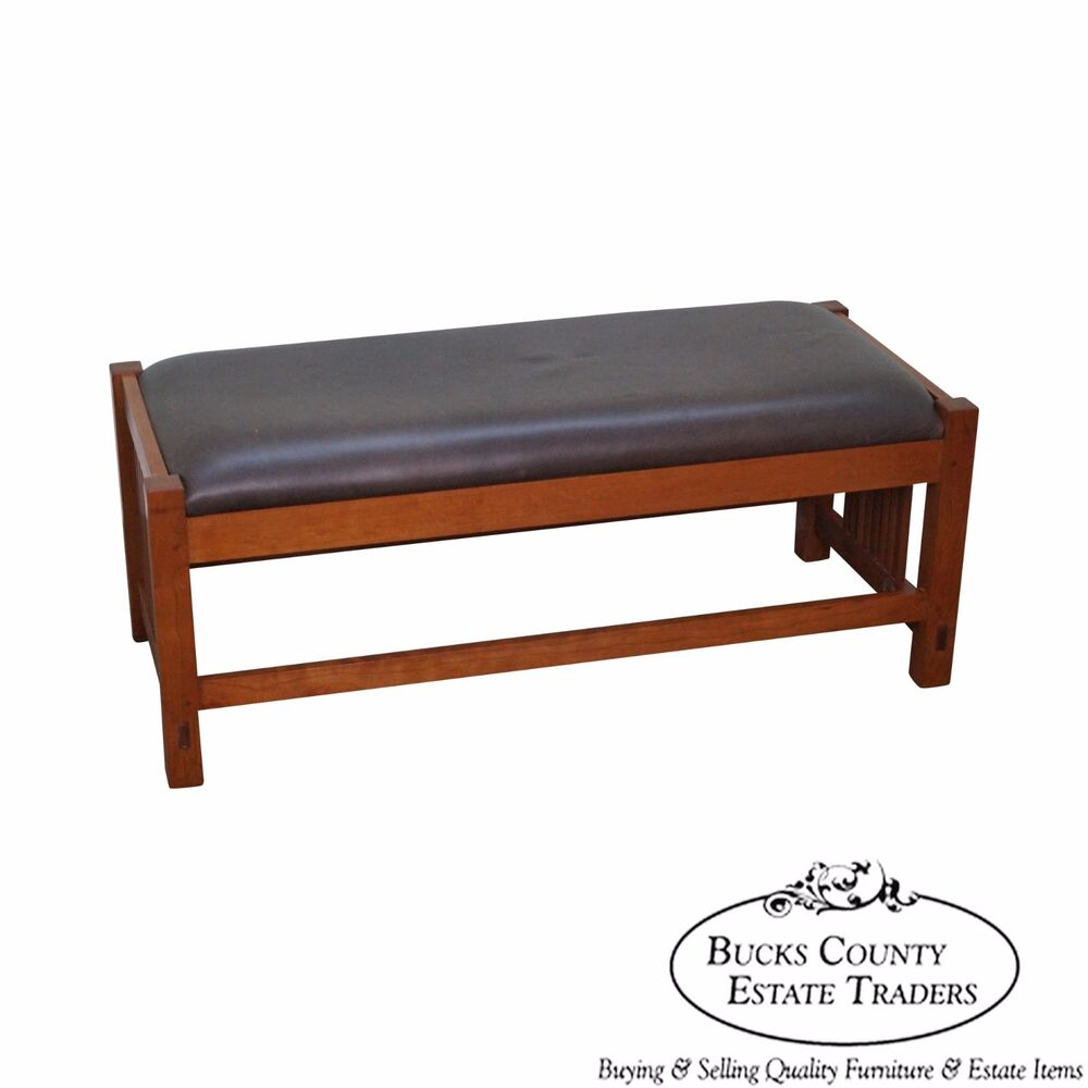 Stickley Solid Cherry Leather Seat Mission Style Window Bench Ebay